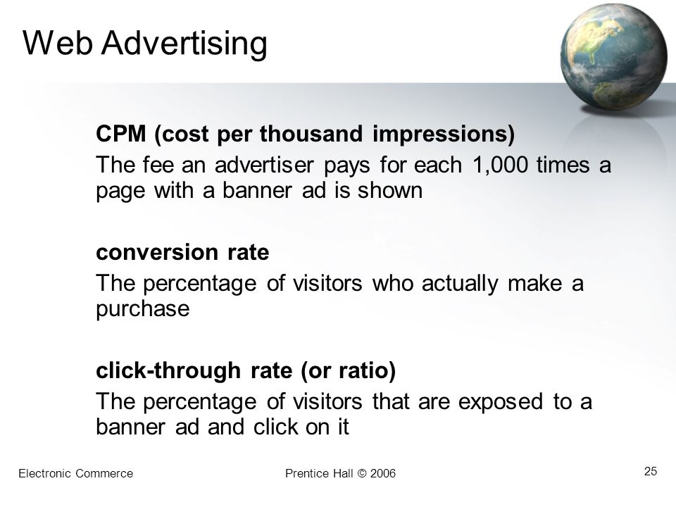 Web Advertising CPM (cost per thousand impressions)