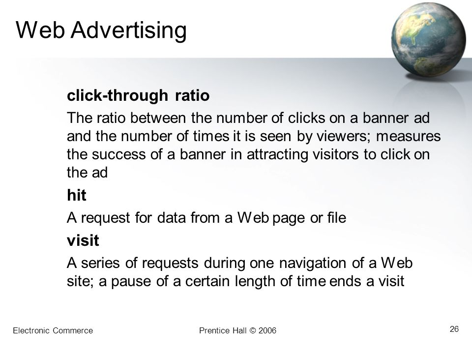 Web Advertising hit visit click-through ratio
