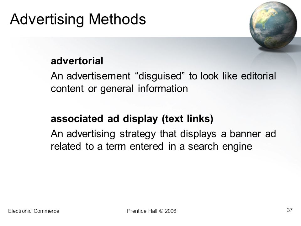 Advertising Methods advertorial