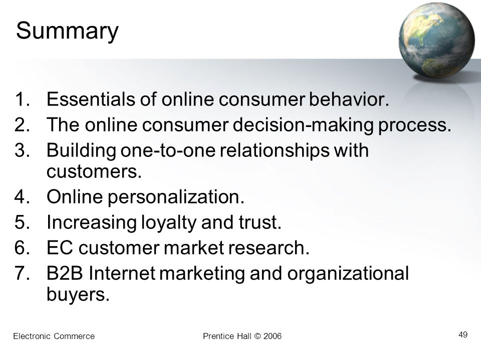 Summary Essentials of online consumer behavior.