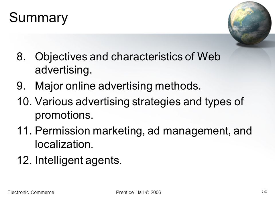 Summary Objectives and characteristics of Web advertising.