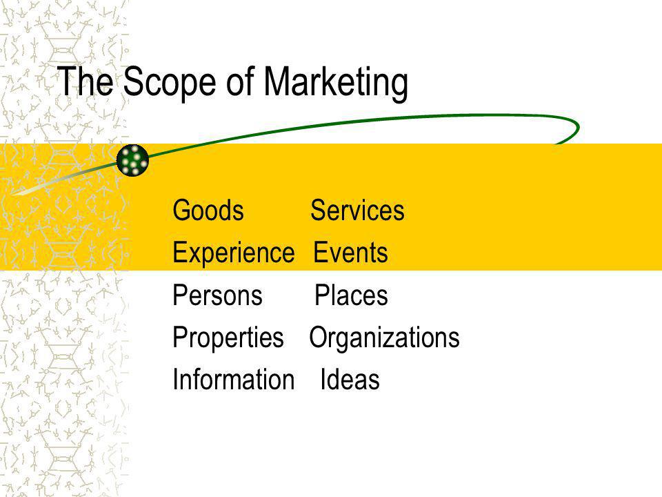 The Scope of Marketing Goods Services Experience Events Persons Places