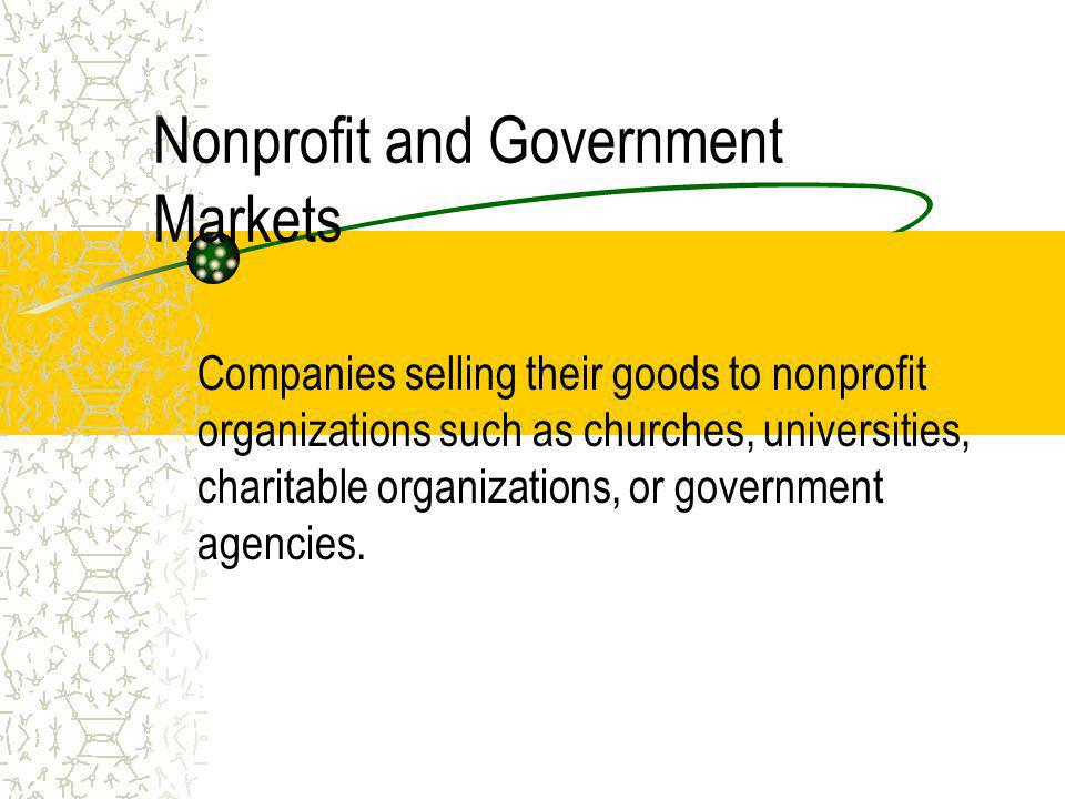 Nonprofit and Government Markets