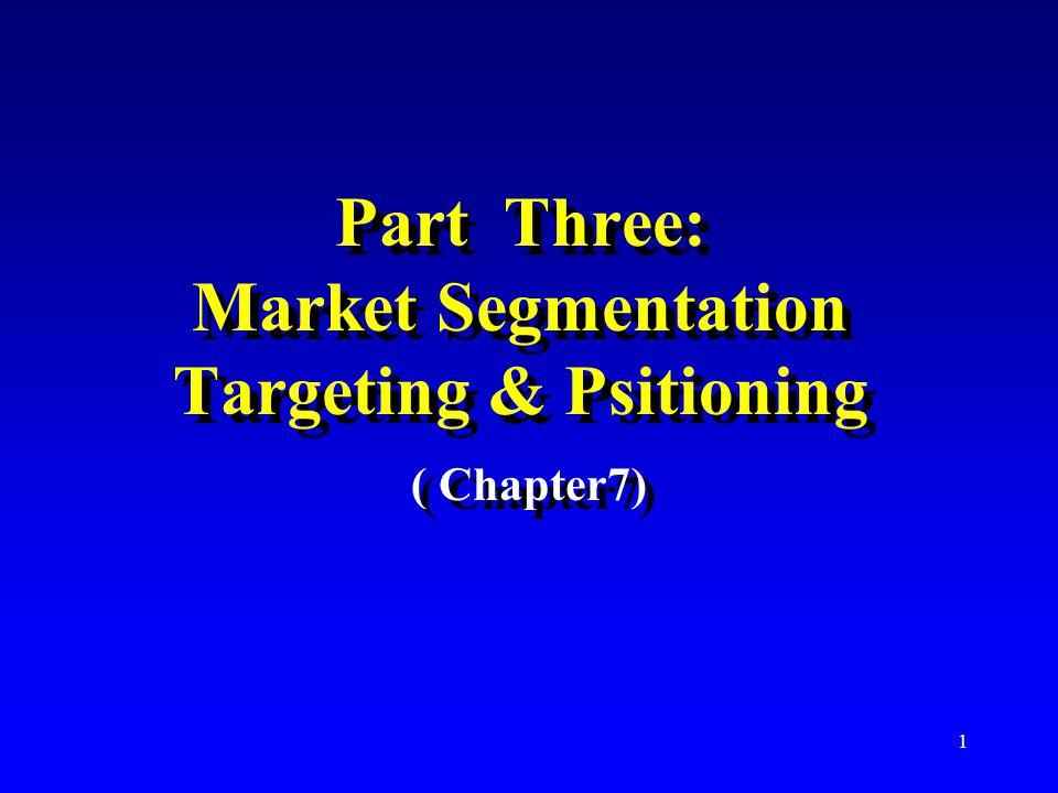 Part Three: Market Segmentation Targeting & Psitioning