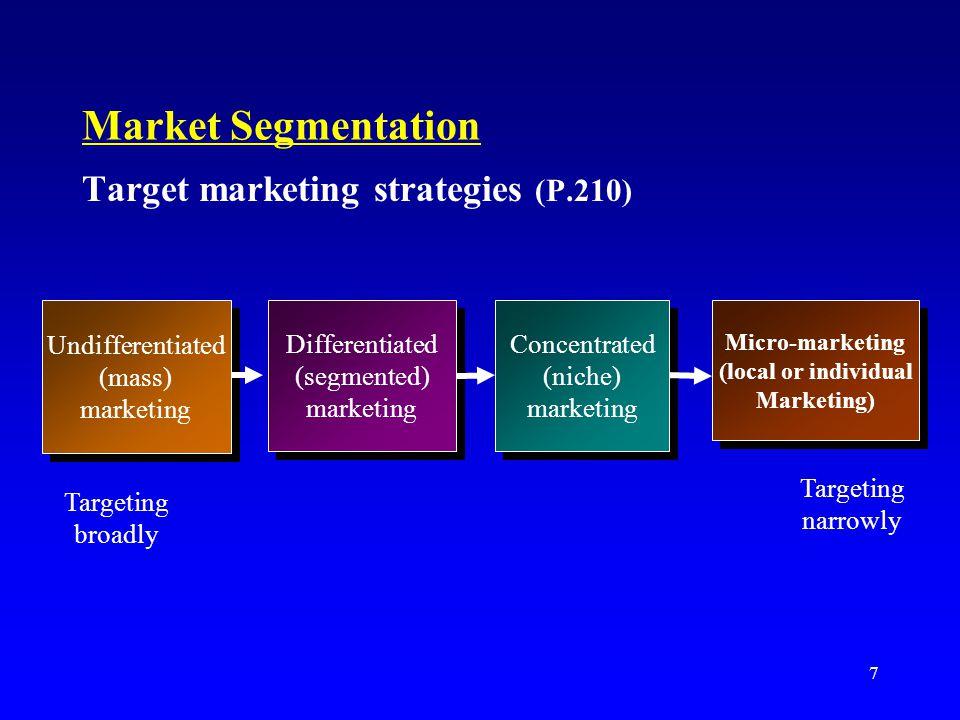 Market Segmentation Target marketing strategies (P.210)