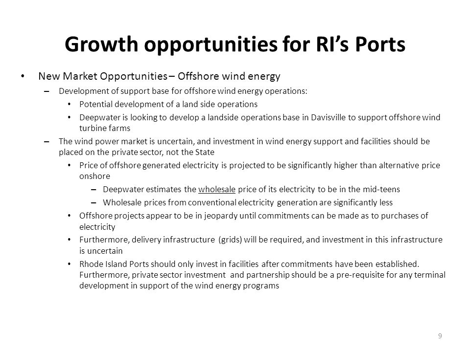 Potential state investments to support future terminal operations should they develop