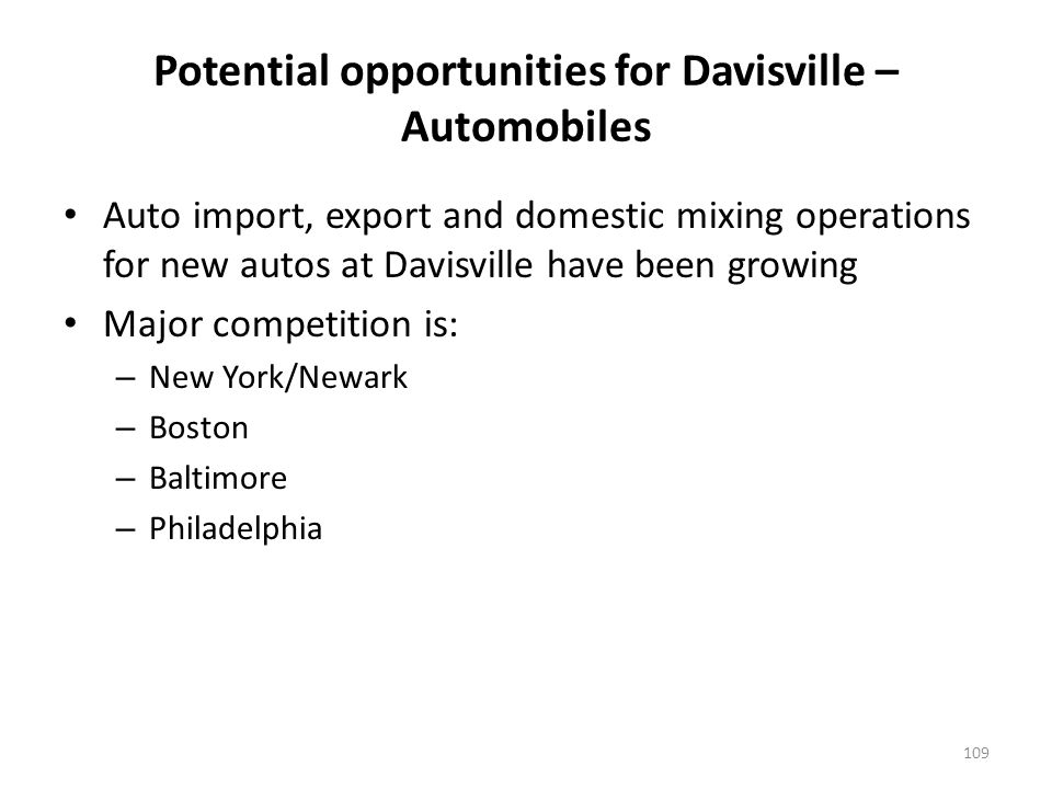 Auto imports have declined at all major Atlantic Coast ports, except for Rhode Island – With the exception of Newark, the gap in auto import share by port is narrowing, and Davisville (Providence) has gained market share over time