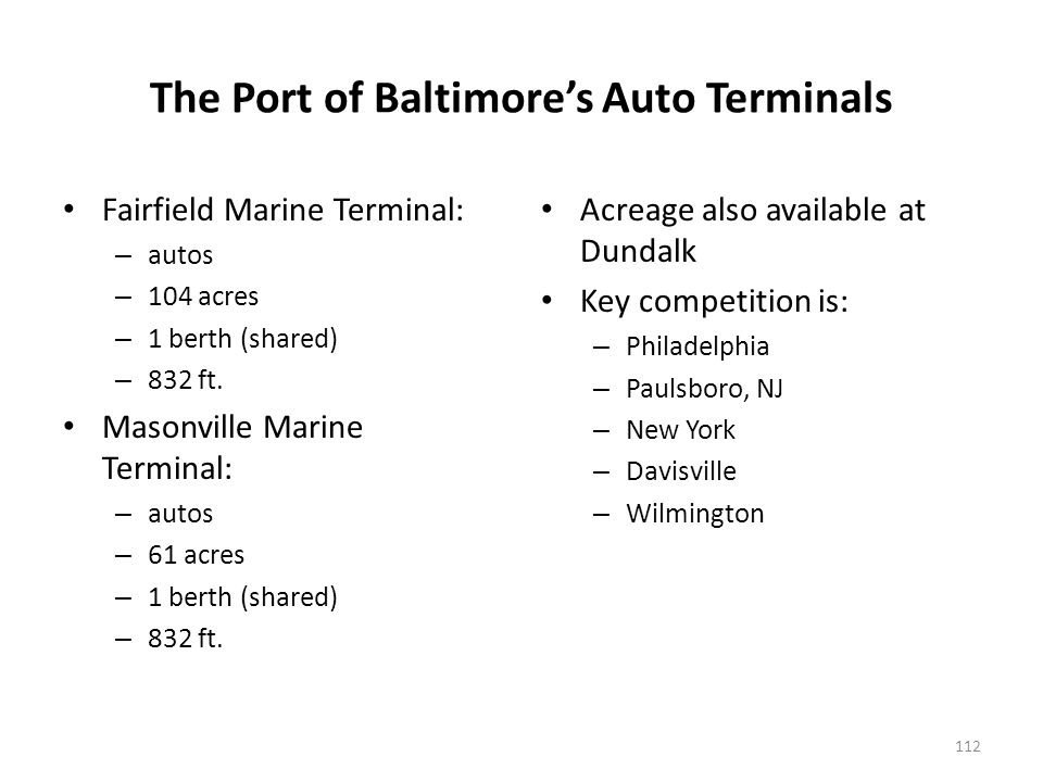 Automobile Terminals at Port Authority of New York/New Jersey