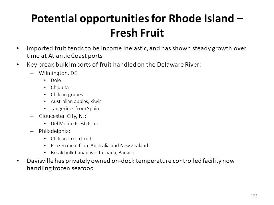 Potential opportunities for Providence – Fresh Fruit