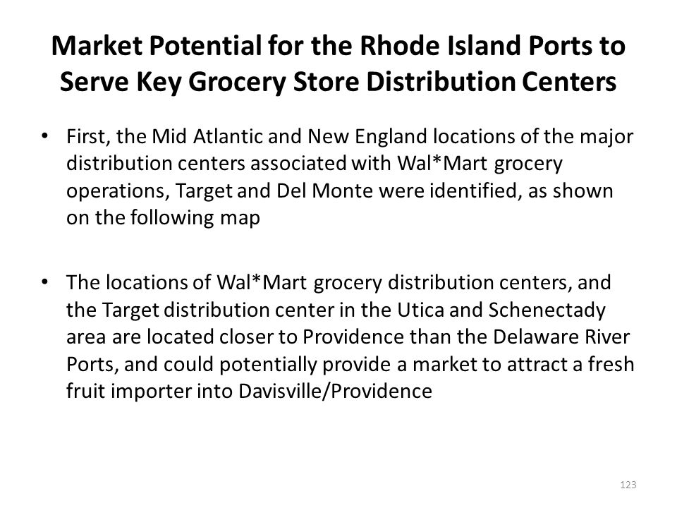 Location of Major Grocery/Fresh Fruit Distribution Centers for Wal