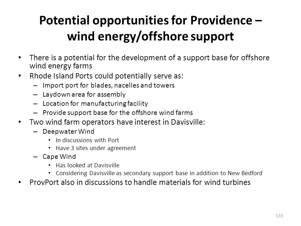 Offshore wind farms – potential for support base