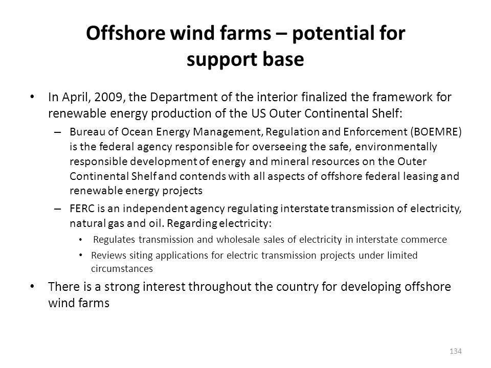 Offshore wind farms (cont'd)