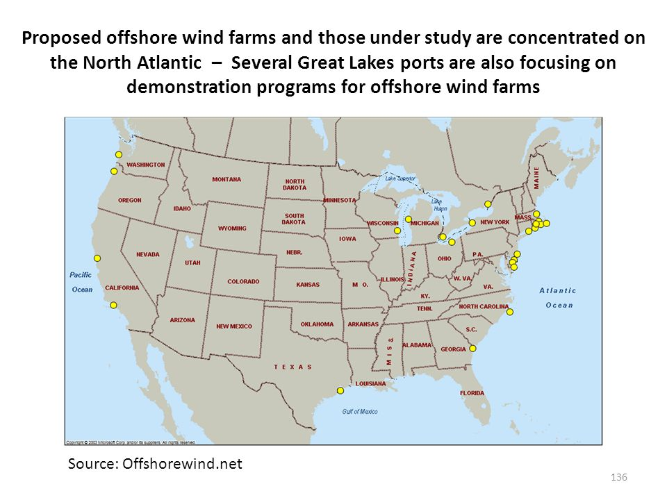 Proposed offshore wind farms