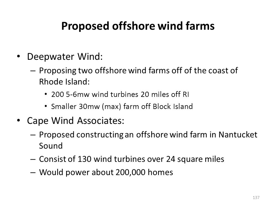 Proposed offshore wind farms (cont'd)