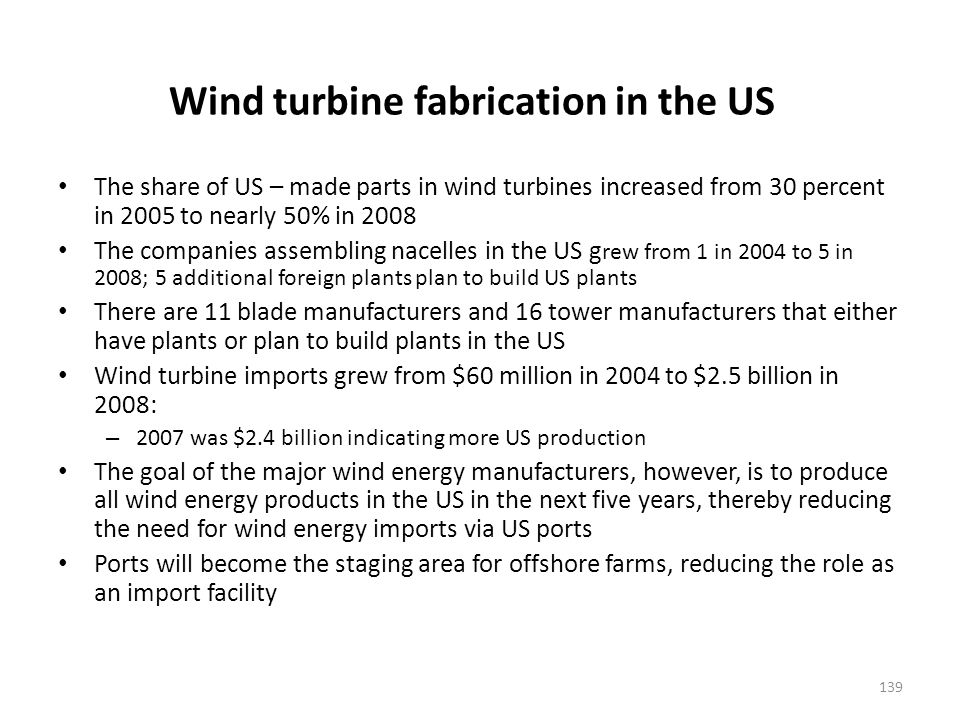 Location of wind turbine manufacturing plants
