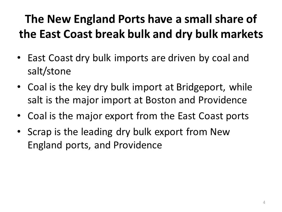 Several break bulk commodities have grown over time and represent potential opportunities for Rhode Island ports