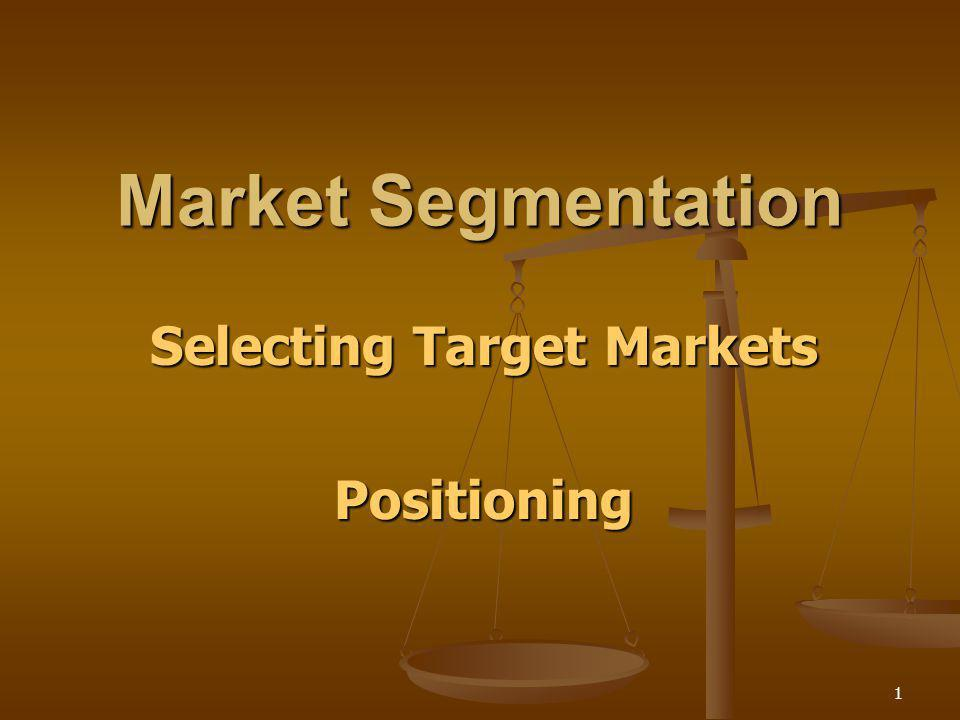 Selecting Target Markets Positioning