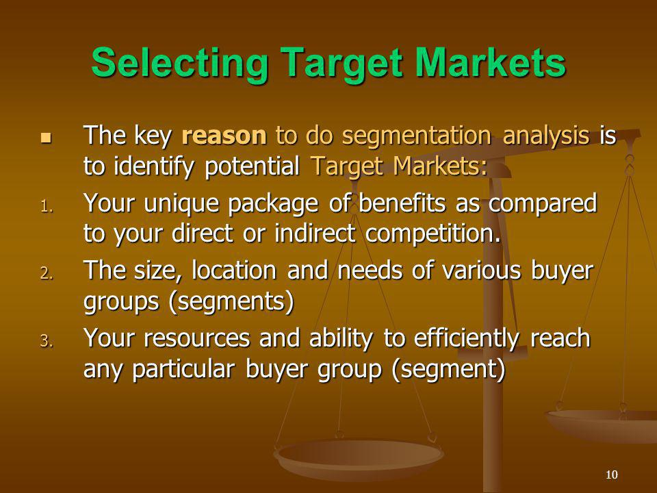 Selecting Target Markets