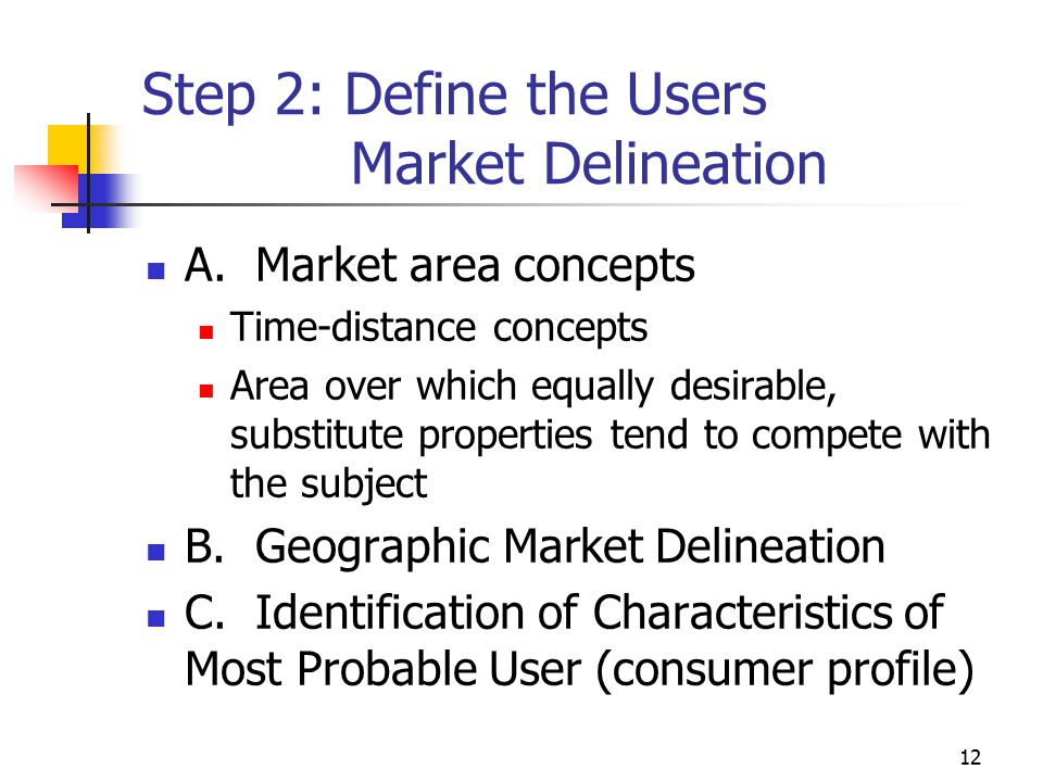 Step 2: Define the Users Market Delineation