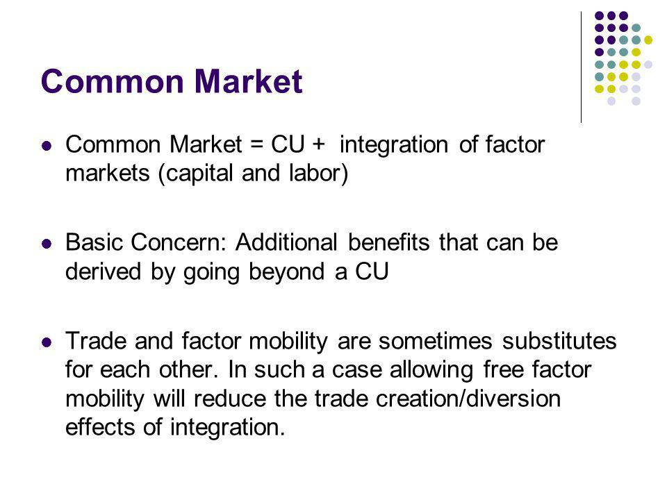 Common Market Common Market = CU + integration of factor markets (capital and labor)