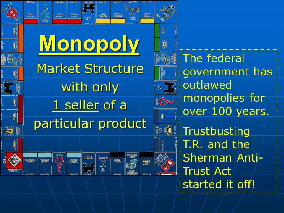 Market Structure with only 1 seller of a particular product