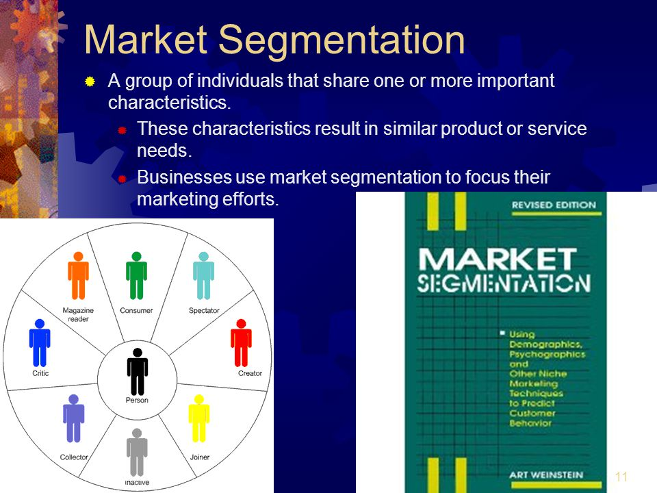 Market Segmentation A group of individuals that share one or more important characteristics.