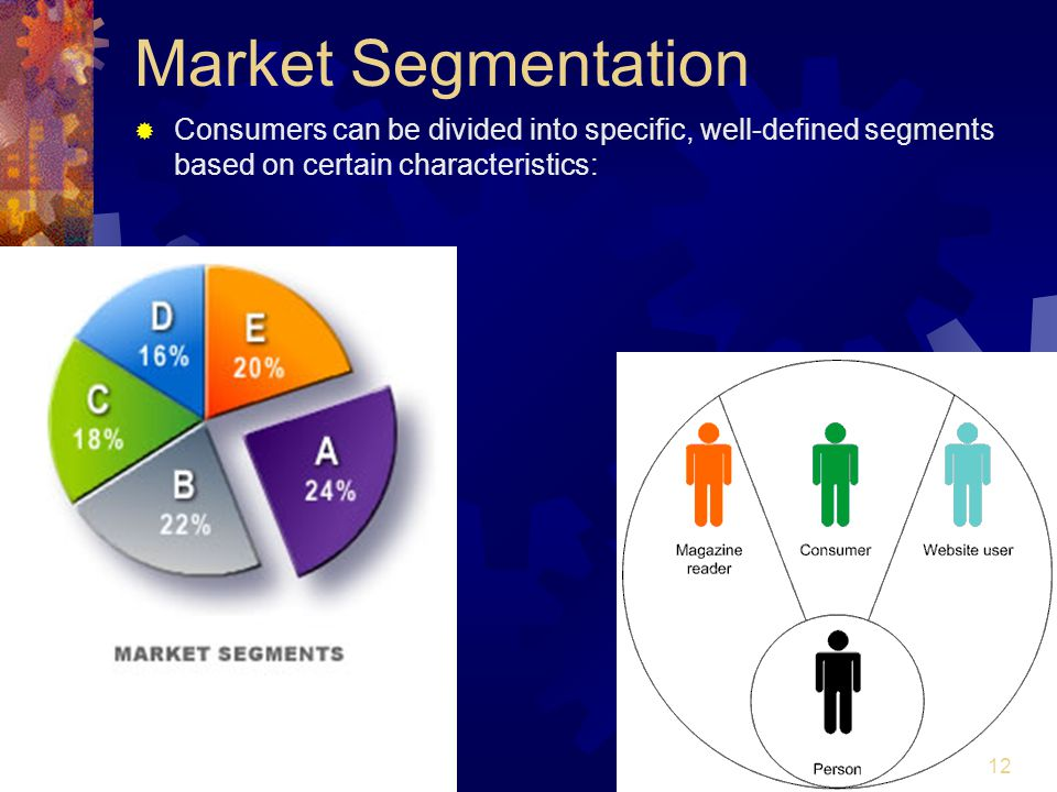 Market Segmentation Consumers can be divided into specific, well-defined segments based on certain characteristics: