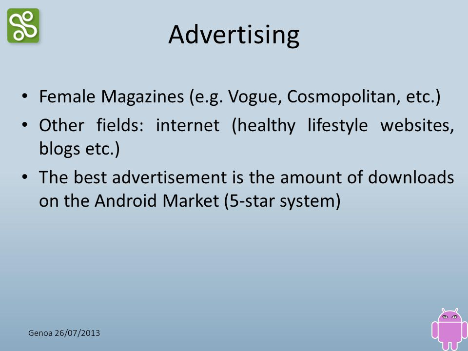 Advertising Female Magazines (e.g. Vogue, Cosmopolitan, etc.)