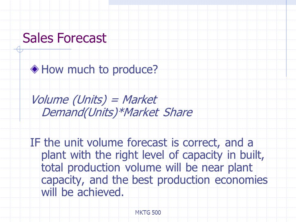 Sales Forecast How much to produce