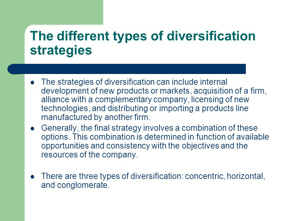 The different types of diversification strategies