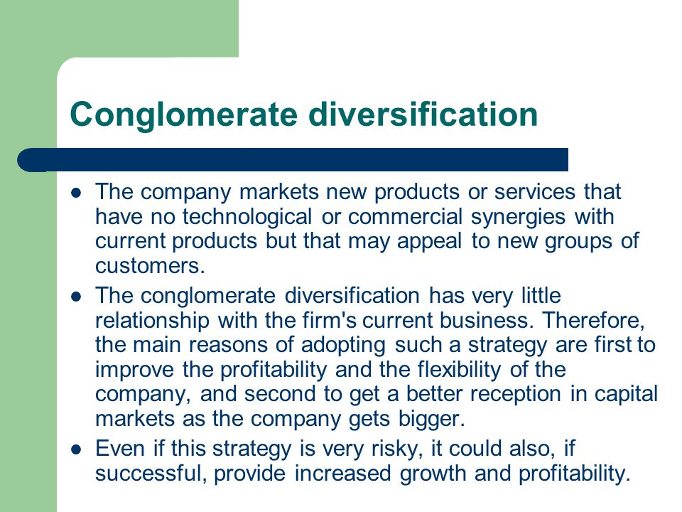 Conglomerate diversification
