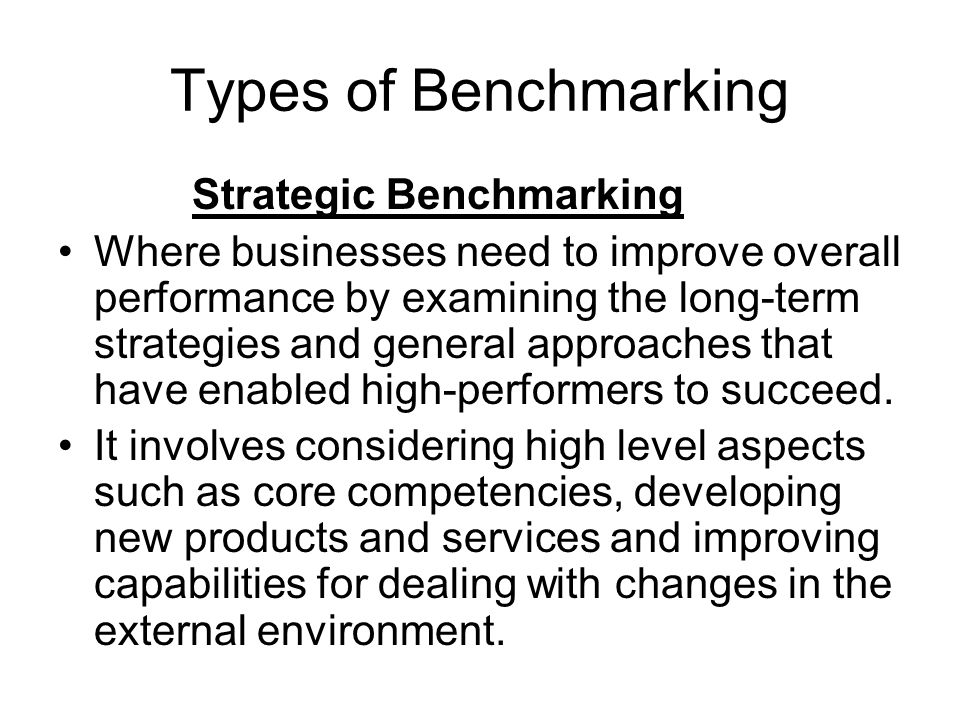 Strategic Benchmarking