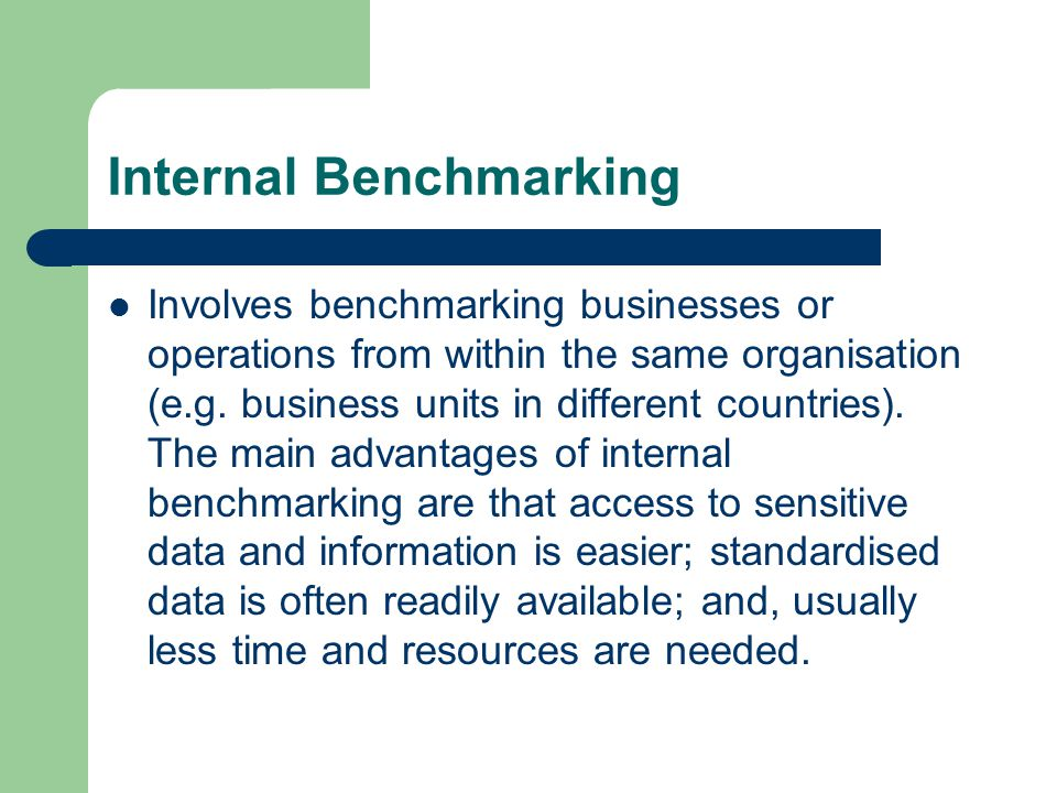 Internal Benchmarking