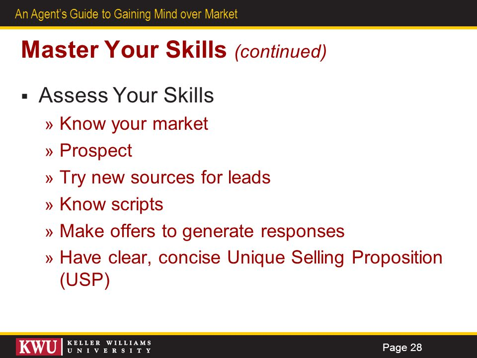 Master Your Skills (continued)