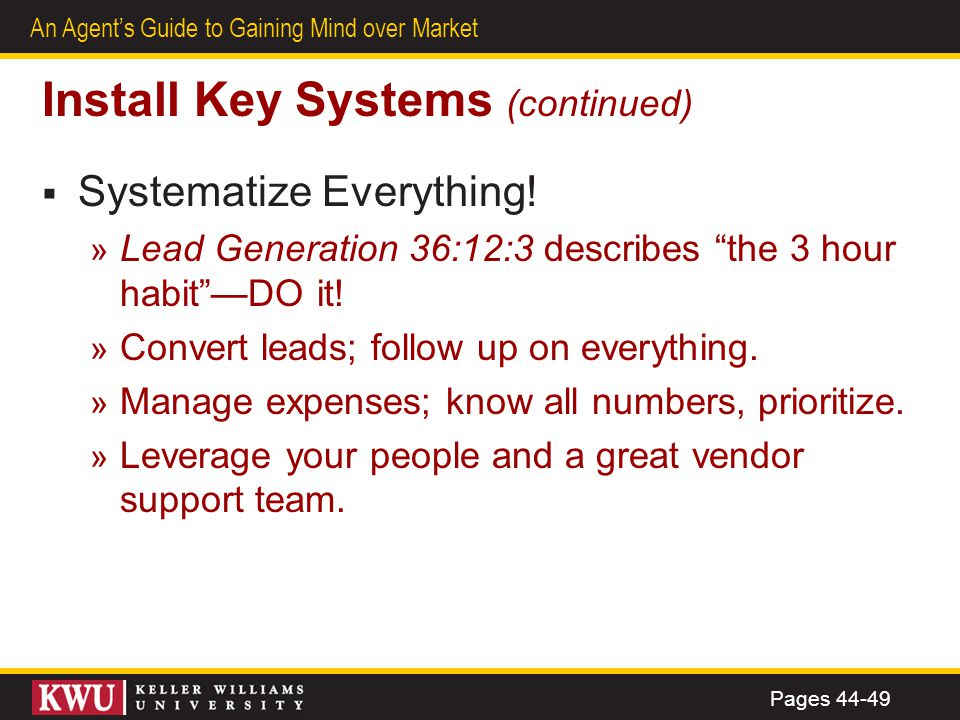 Install Key Systems (continued)