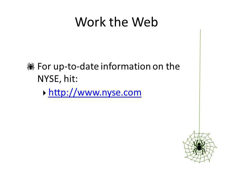 Work the Web For up-to-date information on the NYSE, hit: