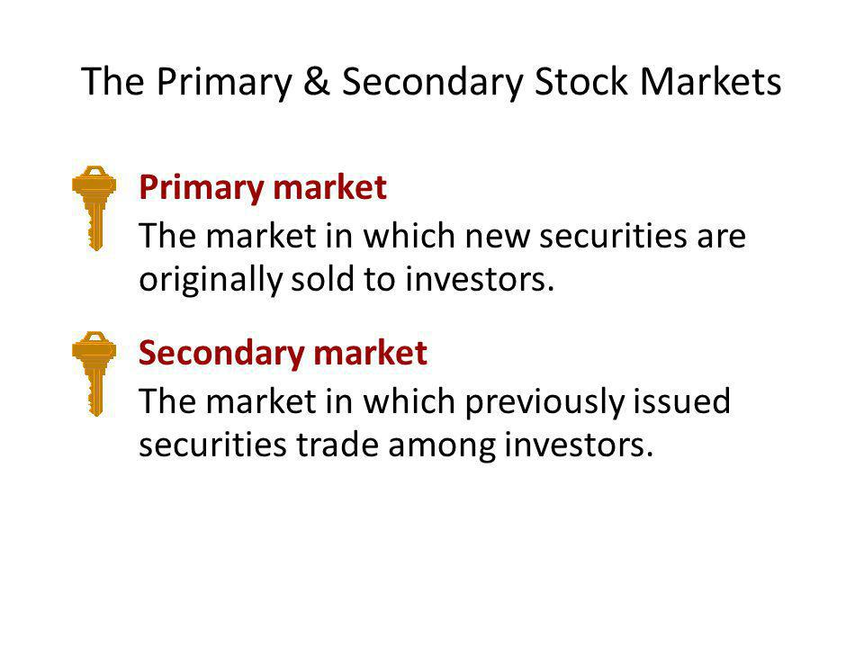 The Primary & Secondary Stock Markets