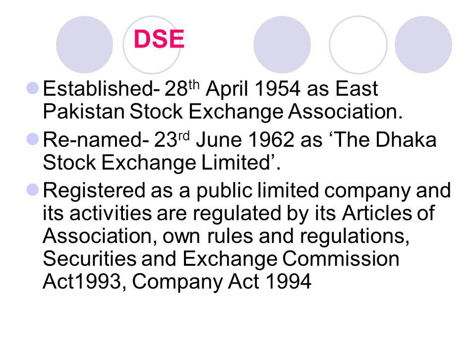 DSE Established- 28th April 1954 as East Pakistan Stock Exchange Association. Re-named- 23rd June 1962 as 'The Dhaka Stock Exchange Limited'.