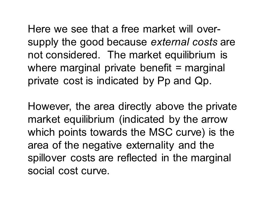Here we see that a free market will over-supply the good because external costs are not considered. The market equilibrium is where marginal private benefit = marginal private cost is indicated by Pp and Qp.