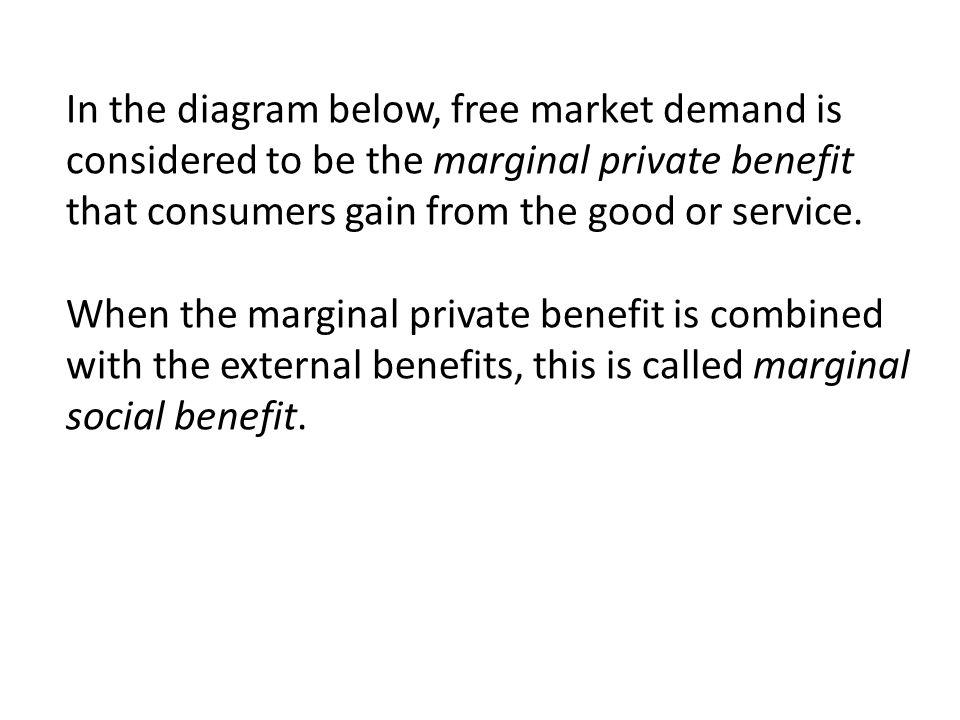 In the diagram below, free market demand is considered to be the marginal private benefit that consumers gain from the good or service.
