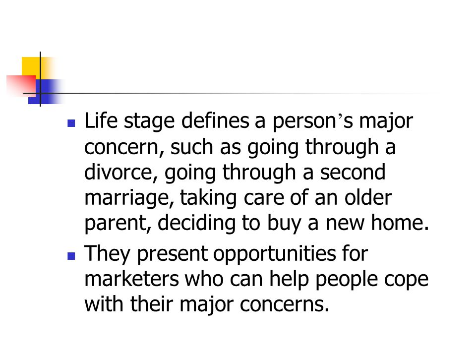Life stage defines a person's major concern, such as going through a divorce, going through a second marriage, taking care of an older parent, deciding to buy a new home.