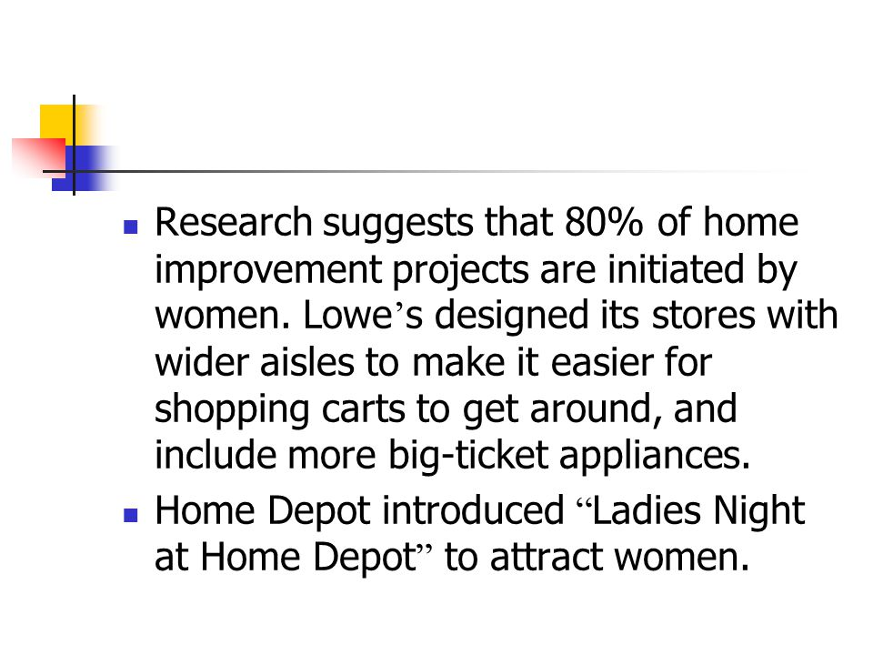 Research suggests that 80% of home improvement projects are initiated by women. Lowe's designed its stores with wider aisles to make it easier for shopping carts to get around, and include more big-ticket appliances.
