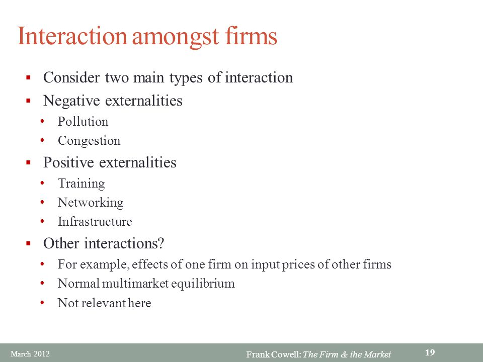 Interaction amongst firms