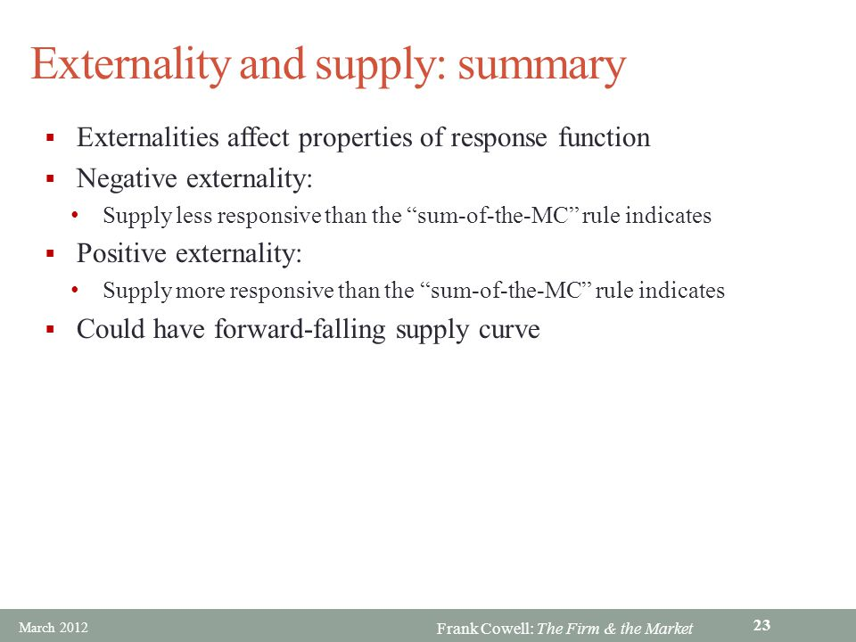 Externality and supply: summary