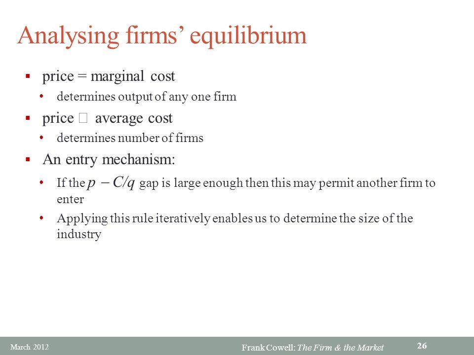 Analysing firms' equilibrium