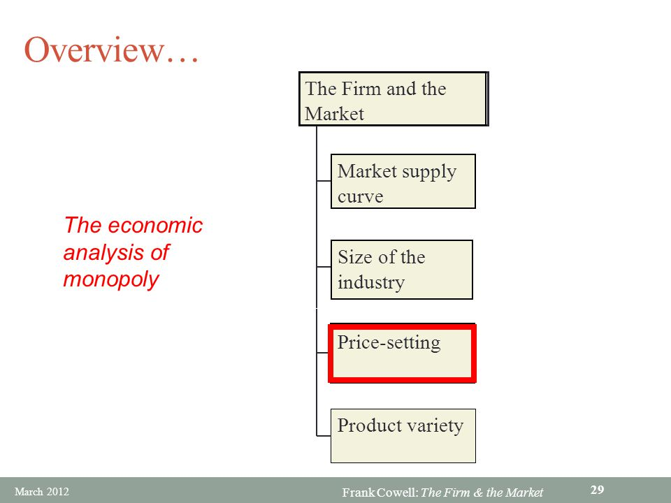 Overview… The economic analysis of monopoly The Firm and the Market