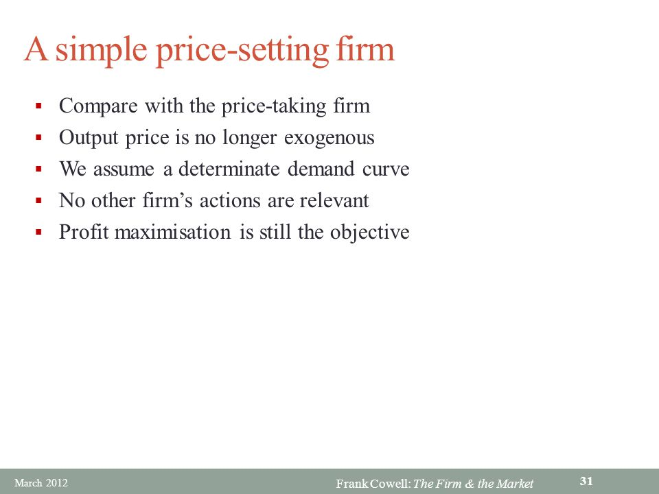 A simple price-setting firm