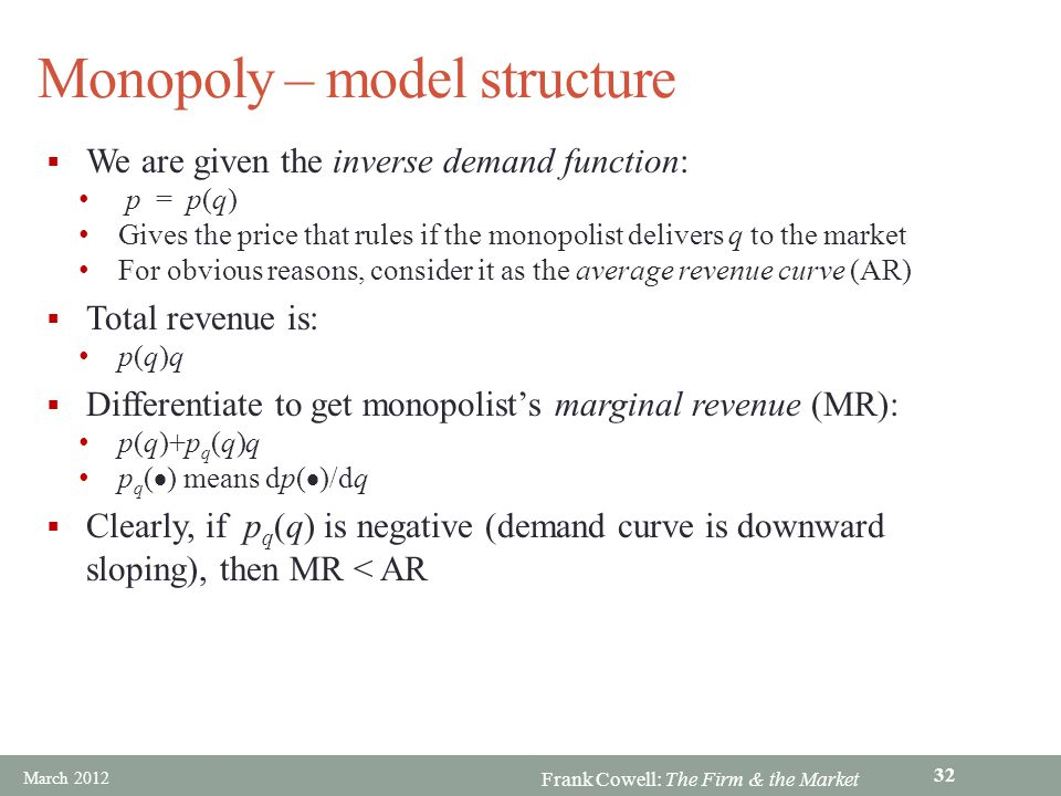 Monopoly – model structure
