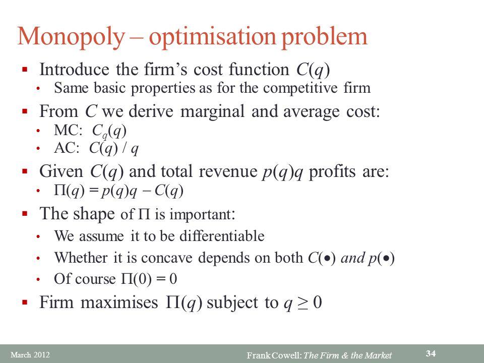 Monopoly – optimisation problem