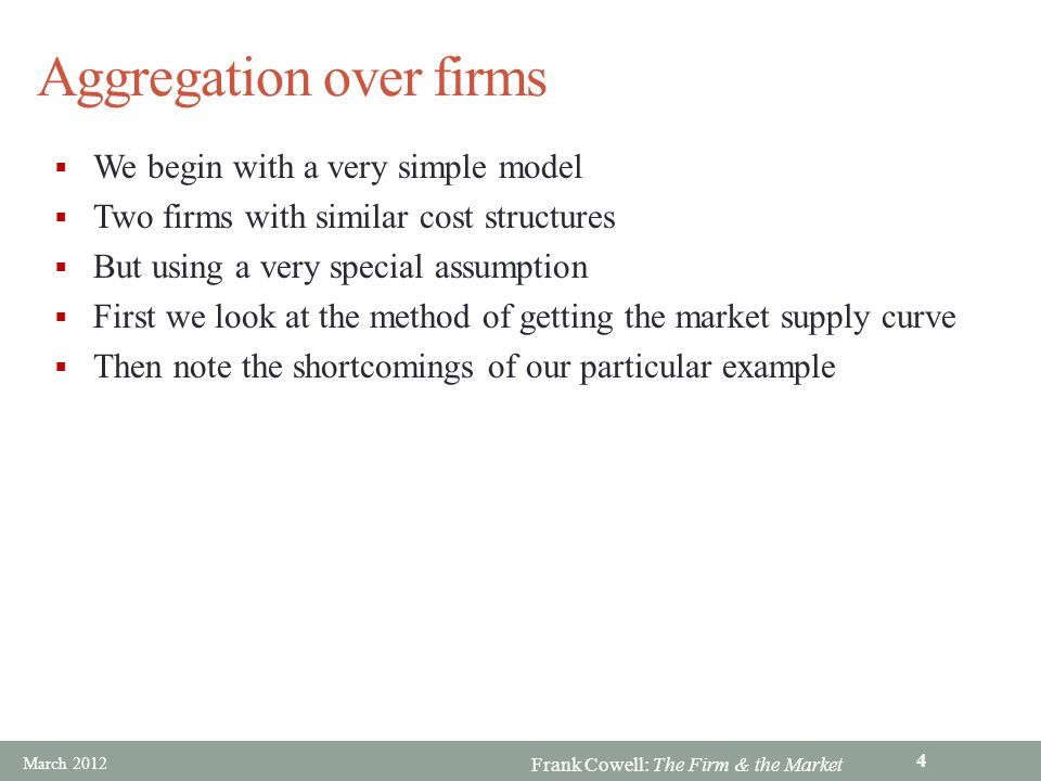 Aggregation over firms